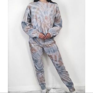 Pants - Custom Tie Dye Sweatsuit Joggers Set Tan & Grey L